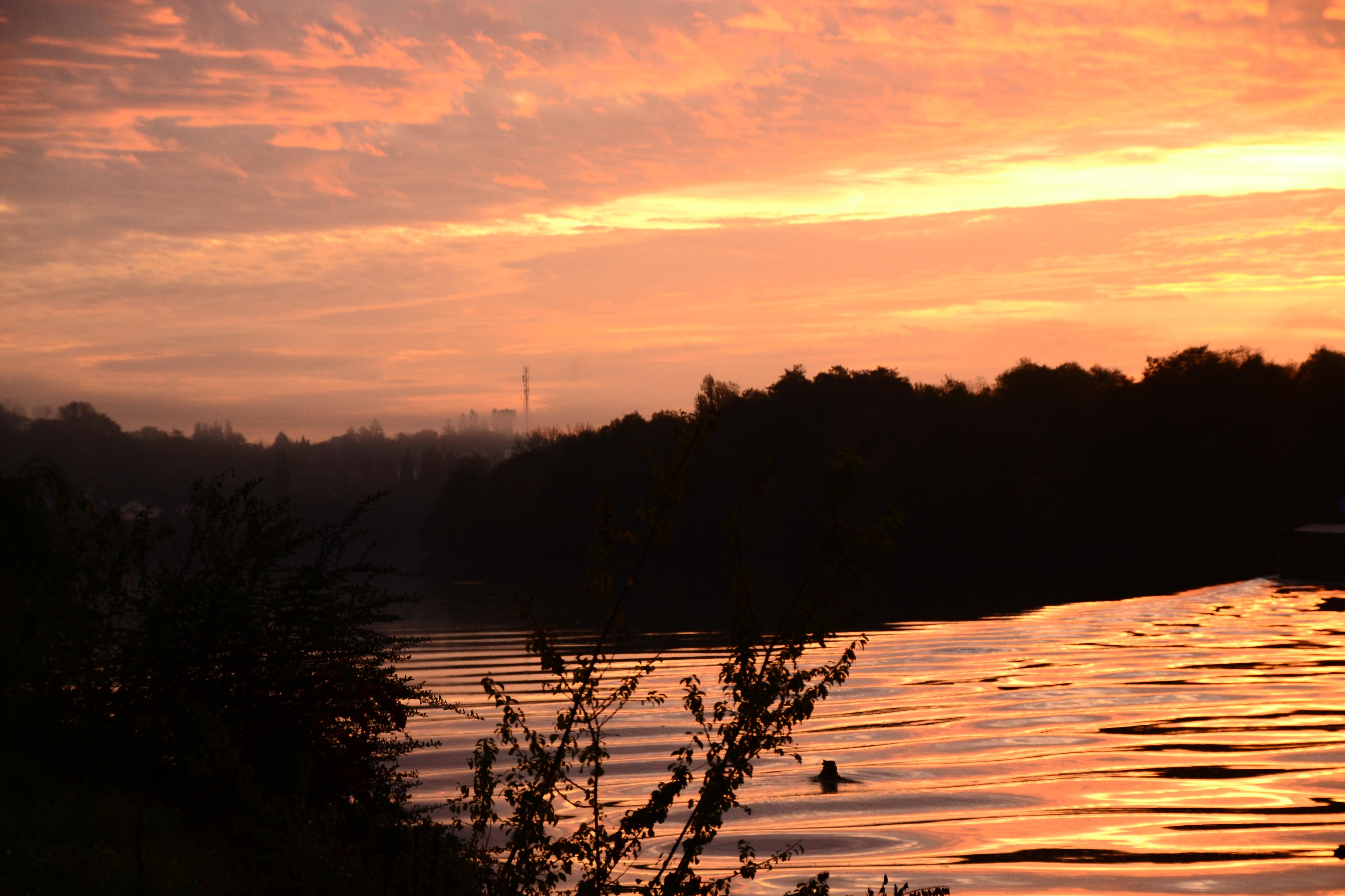 Lever de soleil sur les bords de Seine