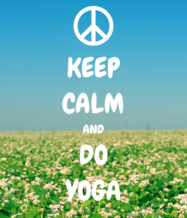 image de champs fleuri et texte keep calm and do yoga